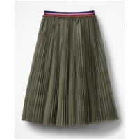 Johnnie B Pleated Tulle Midi Skirt Green Girls Boden, Green