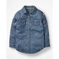 Johnnie B Embroidered Denim Shirt Denim Girls Boden, Denim