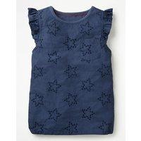 Broderie Star Top Blue Girls Boden, Blue
