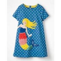 Holiday Applique Dress Blue Girls Boden, Blue