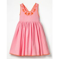 Pretty Embroidered Bow Dress Pink Girls Boden, Pink