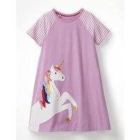 Unicorn Applique Jersey Dress Purple Girls Boden, Purple