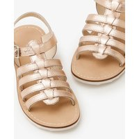 Leather Gladiator Sandals Metallic Girls Boden, Gold pink