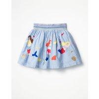 Colourful Applique Skirt Denim Girls Boden, Blue