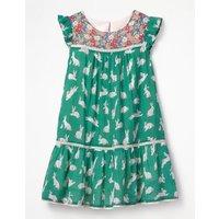 Crinkle Hotchpotch Dress Green Girls Boden, Green