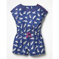 Printed Woven Playsuit Navy Girls Boden, Navy