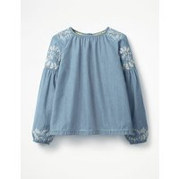 Embroidered Woven Top Denim Girls Boden, Denim