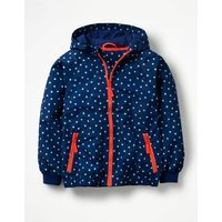 Patterned Jersey-lined Anorak Blue Girls Boden, Blue