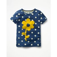Flock Printed T-shirt Navy Girls Boden, Navy