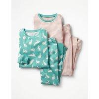 Twin Pack Long John Pyjamas Green Girls Boden, Green