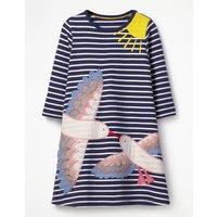 Appliqu Jersey Dress Navy Girls Boden, Navy