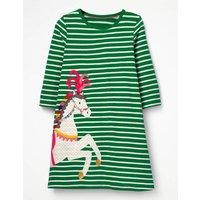 Applique Jersey Dress Green Girls Boden, Green