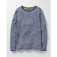 Supersoft Pointelle T-shirt Blue Girls Boden, Blue