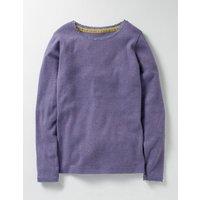 Supersoft Pointelle T-shirt Purple Girls Boden, Purple