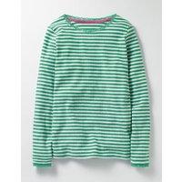 Supersoft Pointelle T-shirt Green Girls Boden, Green