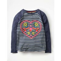 Love Birds T-shirt Navy Girls Boden, Navy