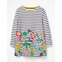 Stripy Appliqué Tunic Navy Girls Boden, Navy