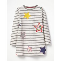 Stripy Appliqué Tunic Grey Girls Boden, Grey