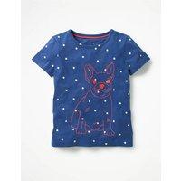 Neon Stitch T-shirt Blue Girls Boden, Blue