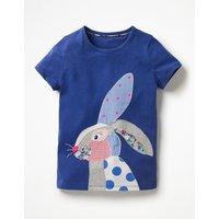 Patchwork Appliqué T-shirt Blue Girls Boden, Blue