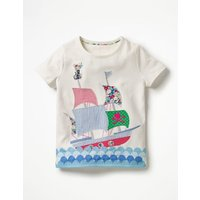 Patchwork Applique T-shirt Ivory Girls Boden, Ivory