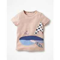Patchwork Applique T-shirt Pink Girls Boden, Pink
