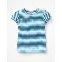 Short-sleeved Pointelle Top Blue Girls Boden, Blue