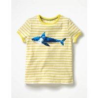 Sequin Colour-change T-shirt Yellow Girls Boden, Yellow