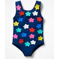Fun Detail Swimsuit Blue Girls Boden, Blue