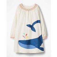 Whale Appliqu © Kaftan Ivory Girls Boden, Ivory