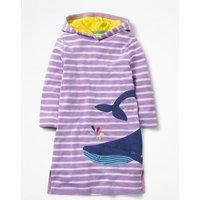 Applique Towelling Beach Dress Purple Girls Boden, Ivory