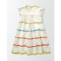 Woven Twirly Dress Ivory Girls Boden, Ivory