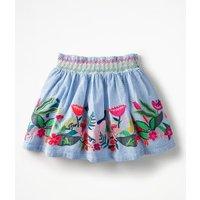 Colourful Appliqu Skirt Blue Girls Boden, Blue