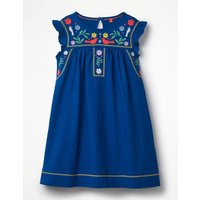 Embroidered Jersey Dress Blue Girls Boden, Blue