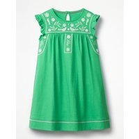 Embroidered Jersey Dress Green Girls Boden, Green