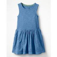 Jersey Woven Dress Blue Girls Boden, Blue