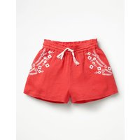 Embroidered Woven Shorts Red Girls Boden, Red