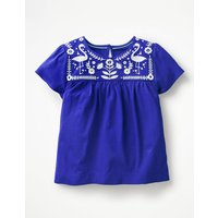 Embroidered Yoke Top Blue Girls Boden, Blue