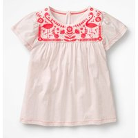 Embroidered Yoke Top Pink Girls Boden, Pink