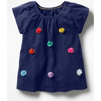 Fluttery Flower Top Blue Girls Boden, Blue