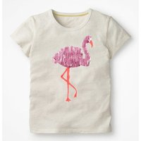 Sequin Animal T-shirt Ivory Girls Boden, Ivory
