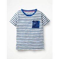 Sequin Pocket T-shirt Blue Girls Boden, Blue