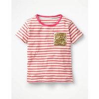 Sequin Pocket T-shirt Pink Girls Boden, Pink