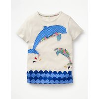 Fun Animal T-shirt Ivory Girls Boden, Ivory