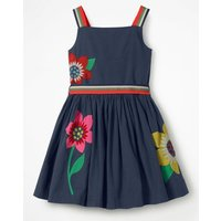 Bright Applique Dress Navy Girls Boden, Navy