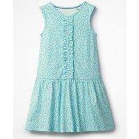 Jersey Ruffle Dress Blue Girls Boden, Blue