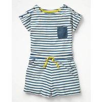 Short-sleeved Jersey Playsuit Blue Girls Boden, Blue