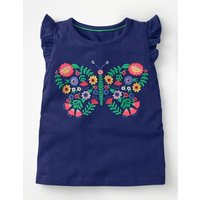 Flutter Sleeve T-shirt Blue Girls Boden, Blue