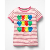 Bright Print T-shirt Pink Girls Boden, Ivory