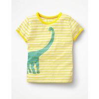 Bright Print T-shirt Yellow Girls Boden, Yellow